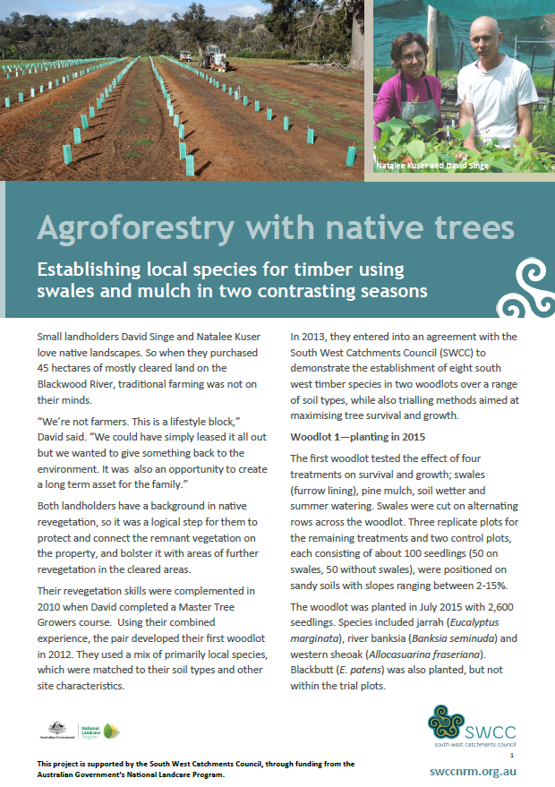 Agroforestry with native trees: Establishing local species for timber using swales and mulch in two constrasting seasons